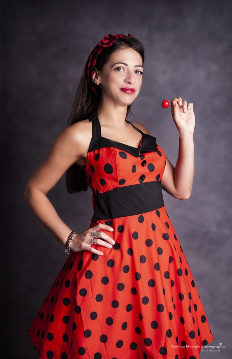 Pin Up girl in red dress